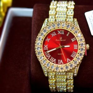 Other - Full Iced Out Red Face Dial Mens Luxury Watch